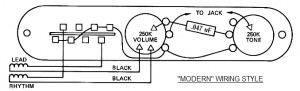 "A typical ""Modern"" Telecaster wiring schematic"