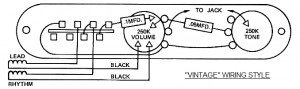 "A typical ""Vintage"" Telecaster wiring schematic."