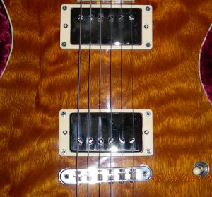 Notice how the stings align a bit differently over the tops of the humbucker pole pieces.